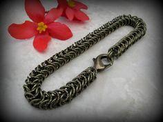 Men's Chain Bracelet Brass Bracelet Unisex Chainmaille by Arret