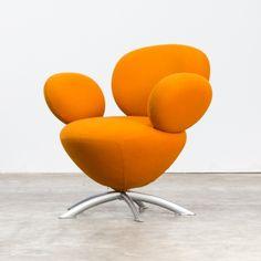 Beautiful friendly round orange design balloon chair, 1990s