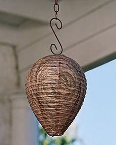 Natural Wasp Deterrent Turn your deck or patio into a no-fly zone with these imitation wasp nests. Research has demonstrated that wasps are territorial and avoid other nests. Hang in a protected area under roof eaves or on a porch. Works for camping and picnicking too. Just hang and enjoy a wasp-free meal! No chemical sprays needed Hang 4-12 feet from outdoor living area and 6-8 feet above the ground This sounds crazy to me but with 256 reviews it got 4 out of 5 stars. go figure