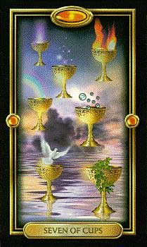 Seven of Cups - The Gilded Tarot Royale by Ciro Marchetti The Sun Tarot Card, Fortune Cards, Vivid Imagery, Tarot Spreads, Oracle Cards, Tarot Decks, Deck Of Cards, Magick, Wicca
