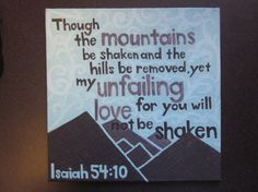 Illustrated Bible Verse on Canvas  Isaiah 5410