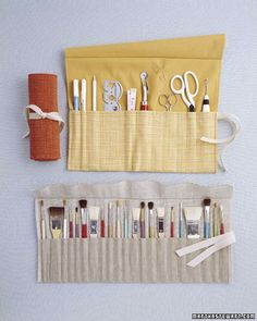 Just as a place mat keeps a table setting looking orderly, it can do the same for arts and crafts supplies. Convert one into a roll-up organizer that doubles as a carrying case.