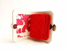 Needle Book  Deer and Rabbit Fabric Interior  White Leather