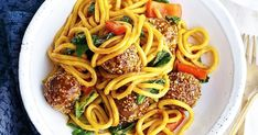 This Asian meatballs and noodles recipe is a great one for the whole family.