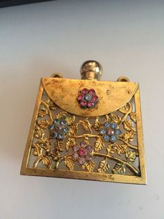 Vintage Metal Perfume Bottle Holder Purse Shape Jeweled Flowers