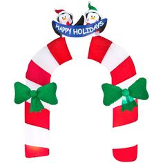 Lighted 10 5 ft Happy Holidays Penguin Arch Christmas Inflatable Yard Decor New   eBay