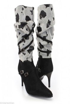 19f3d8a9850 Black Faux Suede Slouchy Cow Print Mid-Calf Stiletto Pointy Toe Boots size  7.5