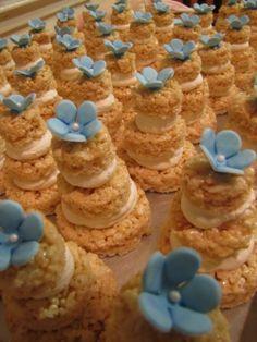 "rice crispy treats ideas | Rice Krispie treat mini ""wedding"" cakes! Cute and ... | Wedding Ideas"
