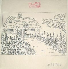 Vintage-Deighton-embroidery-transfer-Thatched-Cottage-Country-Garden-picture