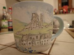Hand painted ceramics by Pam Smith : Mugs with Dorset Scenes and wild flowers. Hand Painted Ceramics, Wild Flowers, Mugs, Painting, Hand Painted Pottery, Painting Art, Paintings, Mug, Painted Canvas