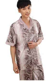 b6b42ae8a1 Men s summer set-collar short sleeve silk sleepwear silk Jacquard male home  dress plus size pajamas