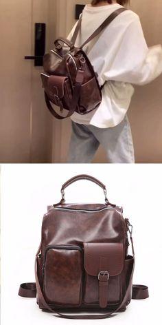 Retro Soft Leather Irregular Pocket Multi-Function Shoulder Bag School Bag Backpack #ShoulderBag #SchoolBag #Backpack