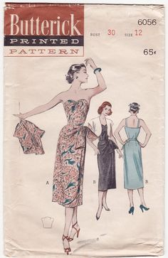 Vintage 50s Sewing Pattern - Strapless Hawaiian Sarong Dress with Asymmetrical Draped Skirt & Short Bolero Jacket - Butterick 6056, Bust 30. $75.00, via Etsy.