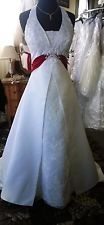 Red and White Davids Bridal style T9218 A line Halter Wedding Dress Size 6Petite