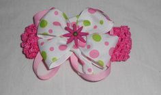 Dark Pink Crochet Headband With White Polka Dot Bow by mlmissal, $6.00