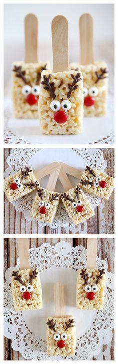 Reindeer Rice Krispies Treats- So cute! Christmas Deserts, Christmas Goodies, Holiday Desserts, Holiday Baking, Christmas Candy, Holiday Treats, Christmas Crafts, Winter Treats, Christmas Chocolate