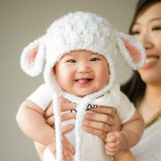 "Crochet a sweet and fuzzy baby lamb hat for your little ones!  Free pattern via ""Repeat Crafter Me""!"