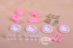Mininature tableware BJD dolls Kitchen pots and pans dishes glasses cutlery for barbie doll Bjd Dolls, Barbie Dolls, Doll Accessories, Cutlery, Objects, Dishes, Free Shipping, Pots, Tableware