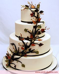 Four-tier Fall Wedding Cake by Pink Cake Box