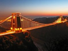 Clifton Suspension Bridge in Bristol, England - at night