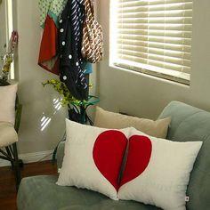 Almohadones con corazón para San Valentín