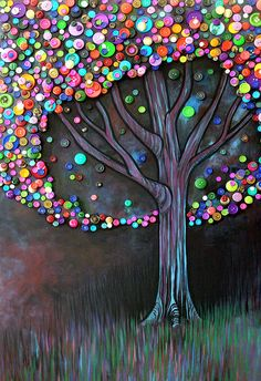 Button Tree by Monica Furlow; using for inspiration for my creation Button Tree by Monica Furlow; using for inspiration for my creation Button Tree by Monica Furlow; using for inspiration for my creation Tree Crafts, Fun Crafts, Diy Arts And Crafts, Stick Crafts, Shape Crafts, Button Tree Art, Button Art On Canvas, Art Diy, Button Crafts