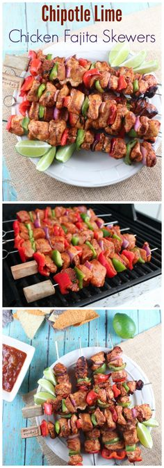This simple and flavorful recipe for Chipotle Lime Chicken Fajita Skewers is a deliciously healthy way to fire up the grill this summer! must try to make this for my mexican side of the fam lol Grilling Recipes, Cooking Recipes, Healthy Recipes, Healthy Grilling, Vegetarian Grilling, Barbecue Recipes, Vegetarian Food, Mexican Food Recipes, Dinner Recipes