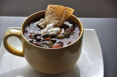 Spicy Black Bean Soup - added some pinto beans, red bell pepper and corn. We cooked in our Crock Pot for a few hours on low. This soup is inexpensive and has great flavor!