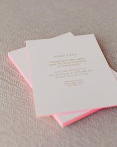 add a pop of neon to your wedding with invites with pink edging | wedding day ideas @MarthaWeddings