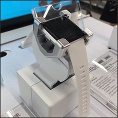 Lots of features mean a commanding wristwatch case and require this Fitbit Fatman Smartwatch Cradle. Fatman is my shorthand description of the oversize. Store Fixtures, Fat Man, Merchandising Displays, Wrist Watches, Smartwatch, Fitbit, Watches, Smart Watch