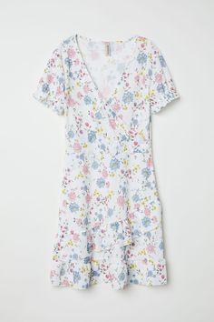 V-ringad klänning - Vit/Blommig - DAM | H&M SE 4