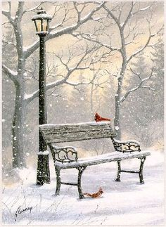 Snow covered bench and lantern in winter Winter Szenen, I Love Winter, Winter Magic, Winter White, Christmas Scenes, Christmas Art, Winter Christmas, Vintage Christmas, Winter Pictures