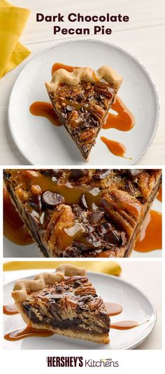 If you're looking for a rich dessert, try this Dark Chocolate Pecan Pie. This recipe is made with HERSHEY'S Kitchens SPECIAL DARK Chocolate Chips to enhance fall flavors in this classic seasonal pie. It's truly the perfect pie for Thanksgiving or Friendsgiving!