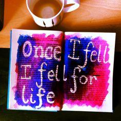 Once I Fell. Typography Josie Selfe artwork. Book art, sketchbook.