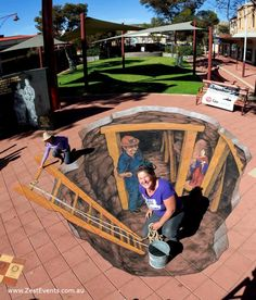 street painting for Feast Day of St Barbara in Broken Hill by Jenny McCracken 3d Floor Painting, 3d Street Painting, 3d Street Art, Amazing Street Art, Street Art Graffiti, Street Artists, Amazing Art, Graffiti Artists, Awesome