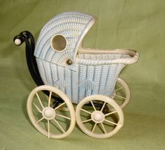 Adorable Vintage Dollhouse Celluloid Doll Buggy Carriage