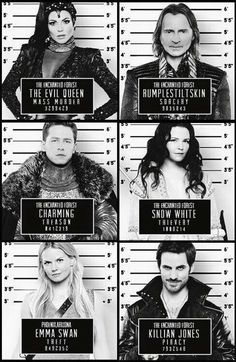Awesome Evil Queen Regina  Charming Emma Hook Snow Rumple mug shots