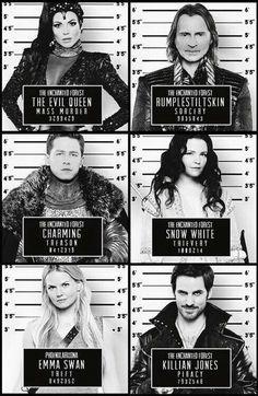 Awesome Evil Queen Regina  Charming Emma Hook Snow Rumple mug shots