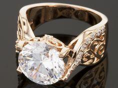 Bella Luce (R) Dillenium Cut 6.50ctw Round Eterno (Tm) Rose Gold Ring (4.16ctw Dew)