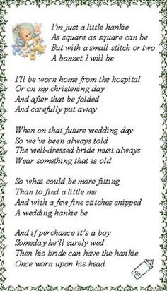 """Sewing Baby Gift Poem to go with newborn hankie bonnet< can also be used on you daughters wedding day as """"something Old"""" goes with hand made hankie bonnet - Sewing Hacks, Sewing Projects, Baby Poems, Handkerchief Crafts, Baby Bonnets, Baby Christening, Vintage Handkerchiefs, Heirloom Sewing, Baby Crafts"""