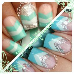 Mint and Glitter Chevron Nails #nail #unhas #unha #nails #unhasdecoradas #nailart #chevron #mint