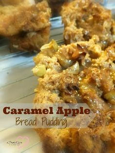Caramel Apple Bread Pudding Recipe - Food is Love Recipes #recipe #breadpudding #easydessert #dessert #ThursdayTweetTreats