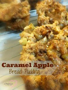 Caramel Apple Bread Pudding Recipe - Food is Love Recipes #recipe #breadpudding #easydessert #dessert #ThursdayTweetTreats