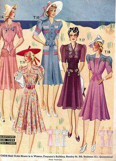 Summer Fashions from Ponds mail order company, 1941 vintage style dress summer sun beach floral color block colorblock pink red blue hats shoes illustration 40s war era