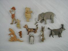 1920's Fine Rare Set -Talfourd England Winnie Pooh Articulated Wood Painted Toys #Talfourd