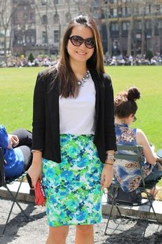 Floral Pencil Skirt + white tee + black blazer + statement necklace + sunglasses = perfect spring style
