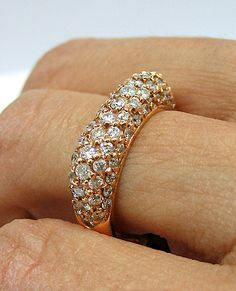 1.55 ct pave DIAMOND rose gold band ring!