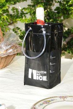 BOTTLE ON ICE Black  ice bucket & wine chiller  www.bottleonice.com