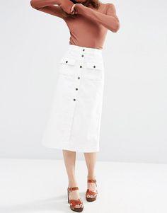 ASOS | ASOS Cord Button Through Midi Skirt in White at ASOS
