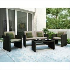Creekside 4 Piece Outdoor Sofa Set in Charcoal Black Weave